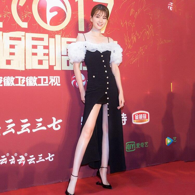 Lotus 2018 Mode Avec Robe Sexy Feuille Nouveau Xin Sling D'été De Couture Qiao Épaule Bouton D'épaule Noir IyYbf76gv