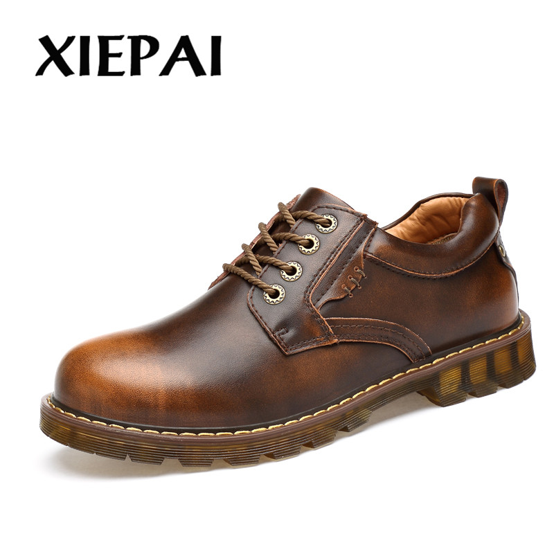 XIEPAI Men Brand Fashion Oxfords Black Brown Color Size 38-45 Work Safety Boots Male Genuine Leather Shoes For Spring Autumn