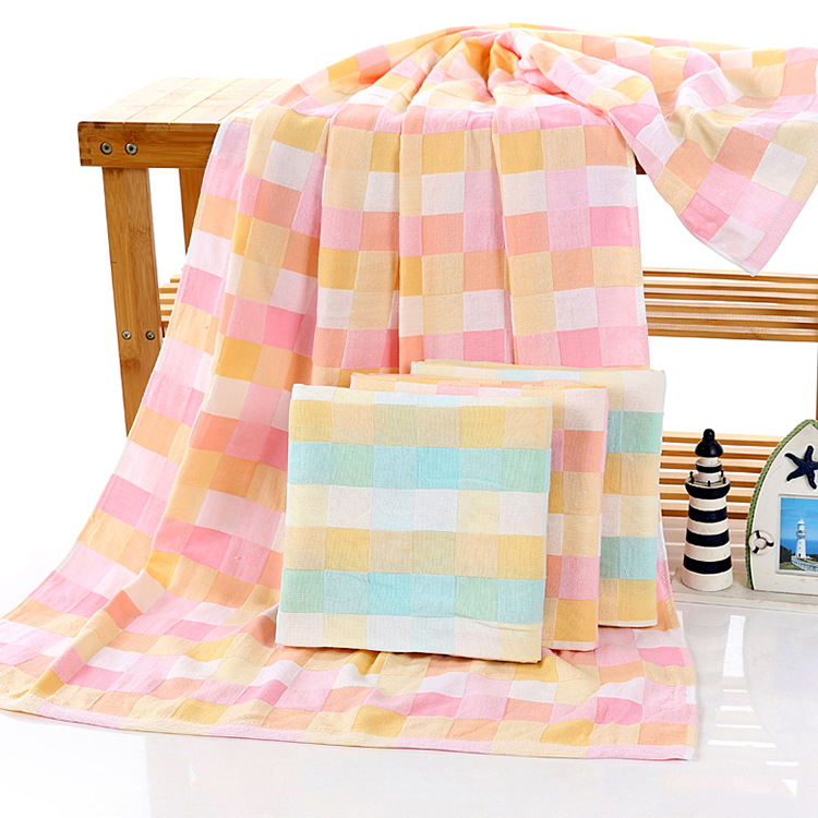 Cotton double gauze lattice towel Baby gauze gauze bathrobe