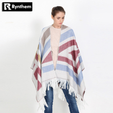 Rynthem Women Geometric Tartan Scarf Tassel Faux Cashmere Shawl Poncho Cape Acrylic Wraps Warm Adult Pashmina New Fashion Hot