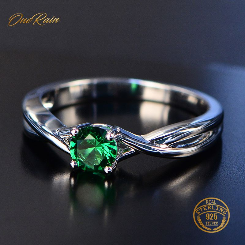 OneRain New 100% 925 Sterling Silver Natural Pink Sapphire Emerald Gemstone Wedding Engagement Cocktaill Ring Jewelry Wholesale(China)