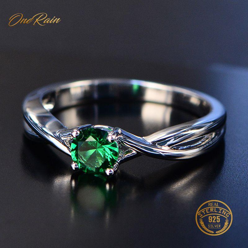 OneRain nouveau 100% 925 argent Sterling naturel rose saphir émeraude pierre gemme de mariage fiançailles Cocktaill anneau bijoux en gros