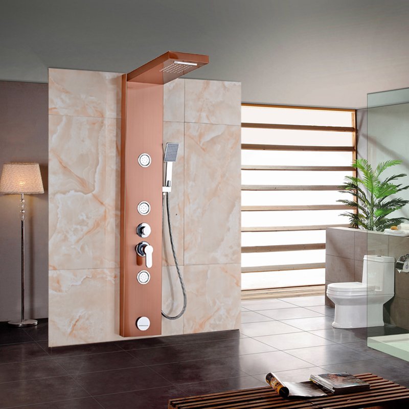 Rose Golden Bathroom Shower Column Faucet Wall Mounted One Handle Shower Panel Tub Tap Jets Unit
