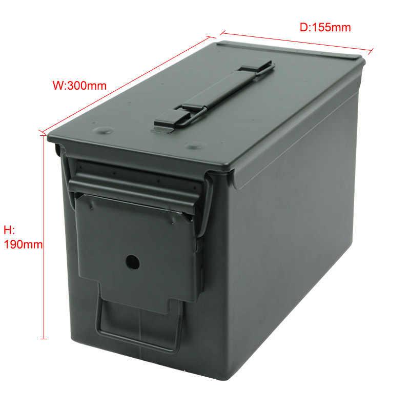 50 Cal กระสุนสามารถ All-กล่องโลหะทหาร & Army จัดแต่งทรงผม Stackable ปืนกระสุนกรณีผู้ถือกล่อง Heavy duty ยุทธวิธี Bullet กล่อง