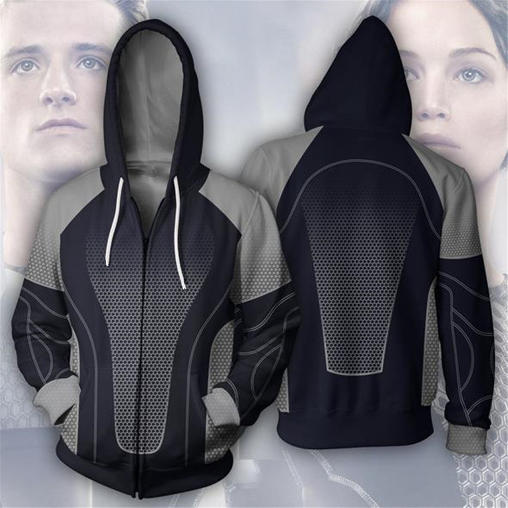 Men's Clothing The Hunger Games Hoodie Cosplay Costume 3d Print Zipper Hoodie Jacket Sweatshirts Custom Made High Quality Materials