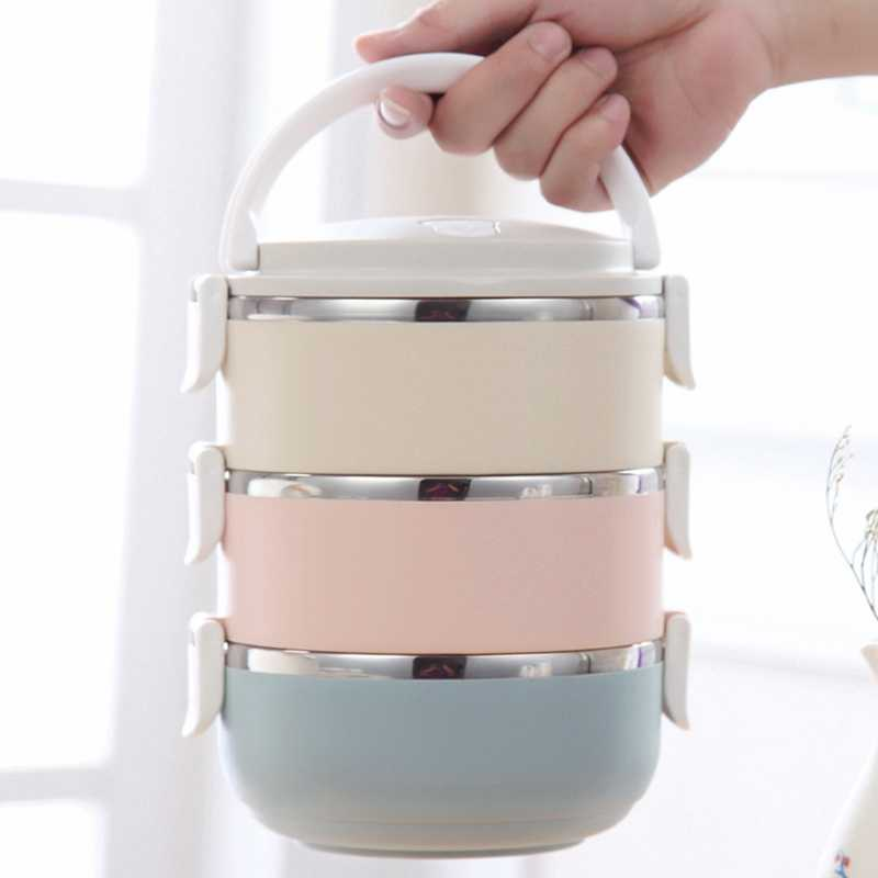 Gradient Color Japanese Lunch Box Thermal For Food Bento Box Stainless Steel Lunchbox For Kids Portable Picnic School
