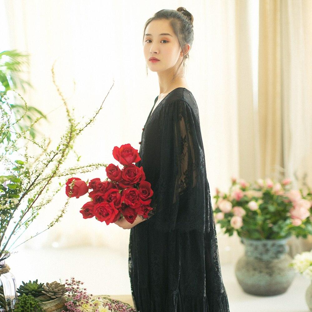 MM132 Nieuwe Collectie Zomer 2017 drie kwart mouw v hals grote bottom vintage elegante lange maxi wimper kant jurk zwart wit - 2
