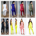 New women fashion elegant 2016 sleeveless solid jumpsuit rompers women long jumpsuit sexy club wear