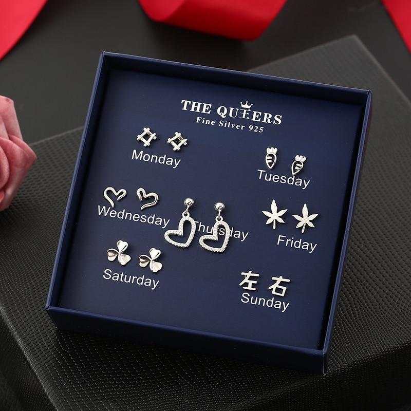 One Week Earrings 925 Sterling Silver Needle Stud Earrings for Women Girl Wedding Party Gift Jewelry Daily Wearing Dropshipping in Stud Earrings from Jewelry Accessories