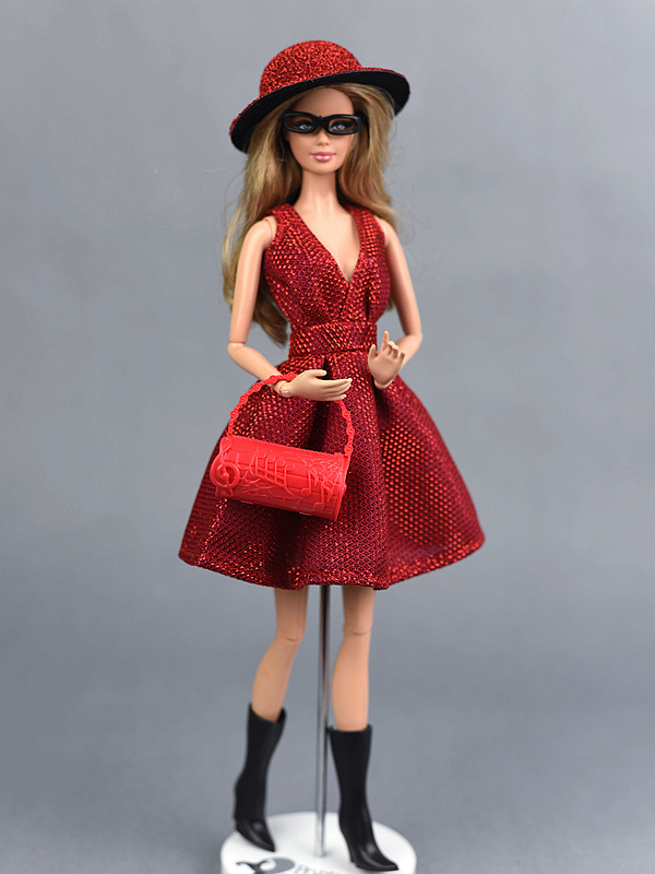 Doll Dresses Unique Red Evening Dress Set for 29cm Dolls Party Dresses Clothes For 1 6 BJD Doll Gift Doll Accessories in Dolls Accessories from Toys Hobbies