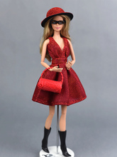 Doll Dresses Unique Red Evening Dress Set for 29cm Dolls Party Dresses Clothes For 1/6 BJD Doll Gift Doll Accessories original 1 6 doll accessories doll clothes genuine dress for monster inc high dolls girls gift kids doll