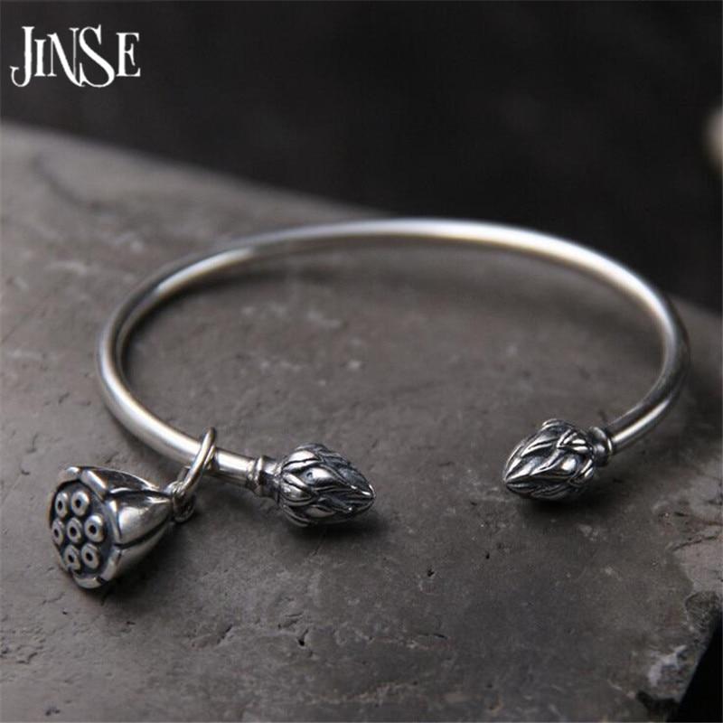 JINSE 925 Sterling Silver Seedpod Of The Lotus Charm Bracelet & Bangles For Women Open Adjustable Simple Brand Love Jewelry 3mm