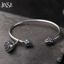 JINSE 925 Sterling Silber Seedpod Der Lotus Charme Armband & armreifen Für Frauen Offen Einstellbar Einfache Marke Liebe Schmuck 3mm