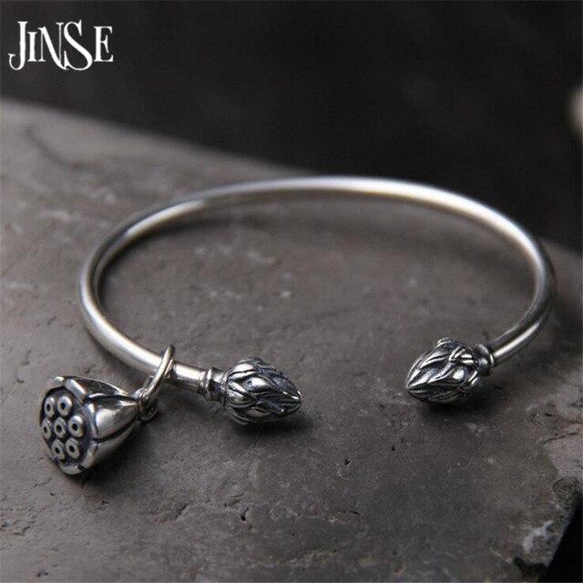 JINSE 925 argent Sterling graine de Lotus Bracelet à breloques & bracelets pour femmes ouvert réglable Simple marque amour bijoux 3mm