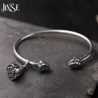 JINSE 925 Sterling Silver Seedpod Of The Lotus Charm Bracelet Bangles For Women Open Adjustable Simple