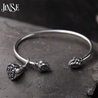 JINSE 925 Sterling Silver Seedpod Of The Lotus Charm Bracelet Bangles For Women Open Adjustable Simple