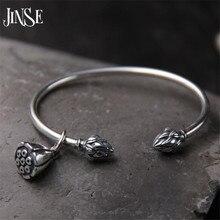 Jinse 925 فضة seedpod لوتس سحر سوار أساور للنساء ماركة مفتوحة للتعديل بسيطة الحب مجوهرات 3 ملليمتر
