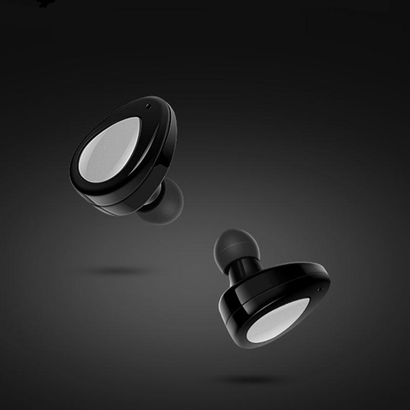 TWS Mini True Wireless Bluetooth Stereo In-Ear Invisible Headset Earphone Earbuds (Black & Silver)