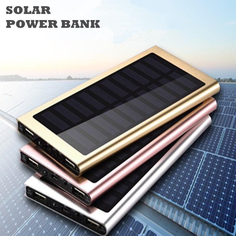 imágenes para Banco de la Energía Solar 20000 mAh Cargador Solar de Batería Externa Powerbank Cargador Portátil Ultra-Delgado Para Xiaomi Iphone 6 s TODOS LOS TELÉFONOS