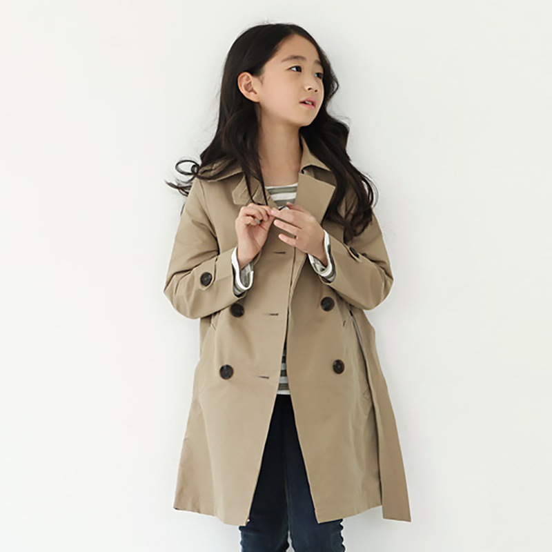 long children jacket autumn khaki trench coat little teenage girls coats and jackets windbreaker belt pockets girls clothes fall цены
