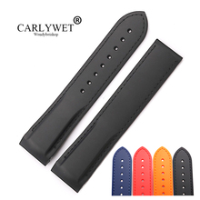 CARLYWET 20 22mm Wholesale Pure Color Rubber Silicone Replacement Watch Band Strap Belt For OMEGA Planet Ocean 45 42mm