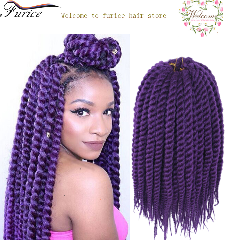12 24 Inch Purple Braiding Havana Twist Hair Extension Blonde