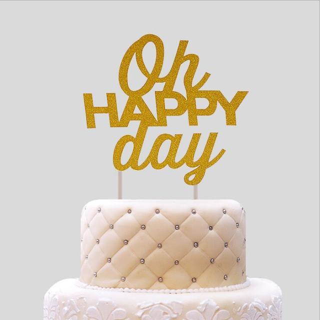20Pcs Oh Happy Day Birthday Cake Topper Wedding Cake Stand Birthday ...