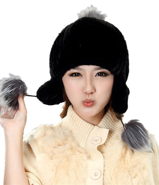 H925-Autumn and winter natural rex rabbit fur earflap cap with fox ball Women's fashion black  fur hats