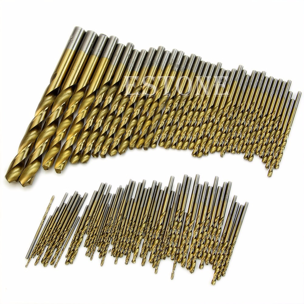 Drill Bit Titanium Coated HSS High Speed Steel Drill Bit Set Tool 1.5mm - 10mm 99pcs contrast stripe print strap skater mini dress