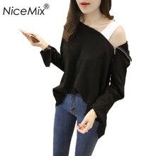 NiceMix 2019 Hooded T Shirt Women Casual Sexy Off Shoulder Long Sleeve T-shirt Plus Size Women Tops Tee Shirt Femme