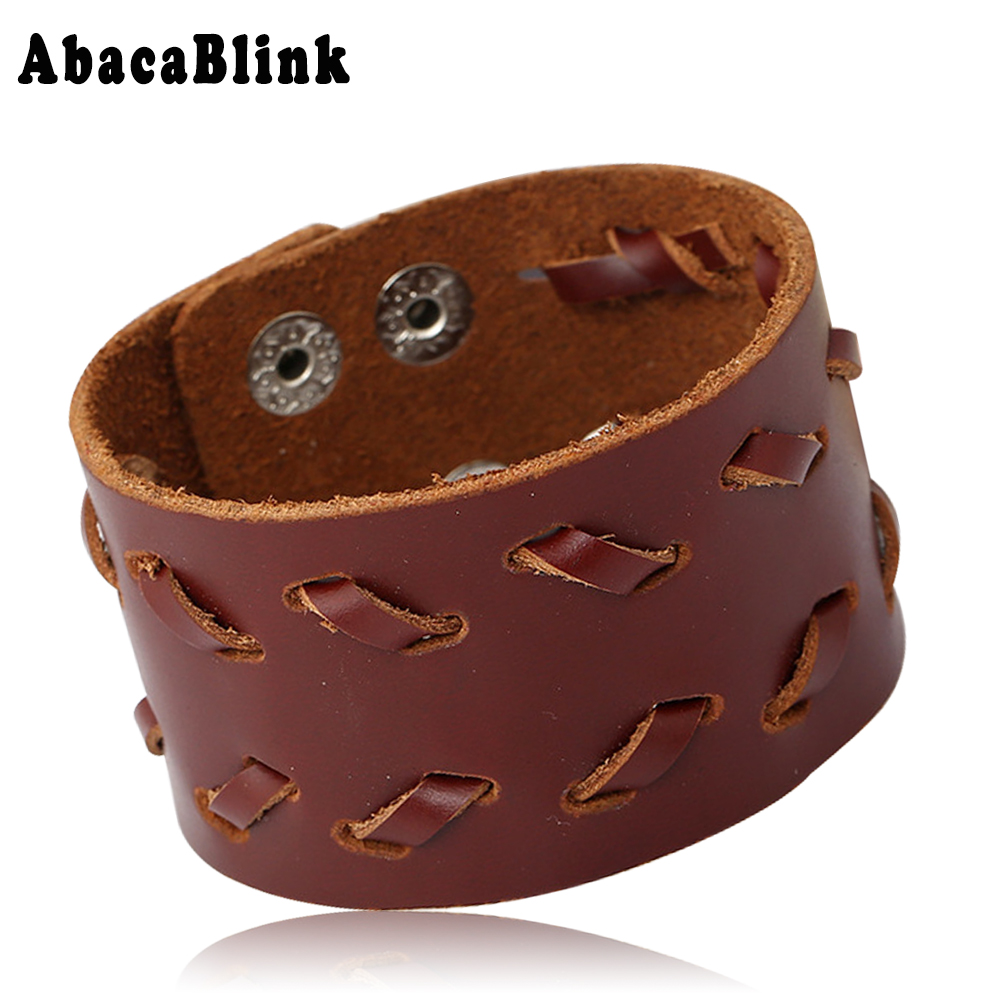 40MM Wide Fashion Genuine Leather Bangle Wrap Bracelets For Men Snap Button Charm Jewelry Wristband pulseiras Braslet Adjustable