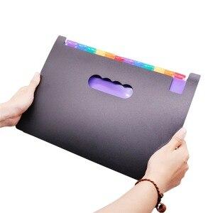 Image 2 - 1 pcs Expanding Wallet 33*23.5*3.5cm Expanding File Folder 24 Pockets Black Accordion A4 Folder Office Document Storage