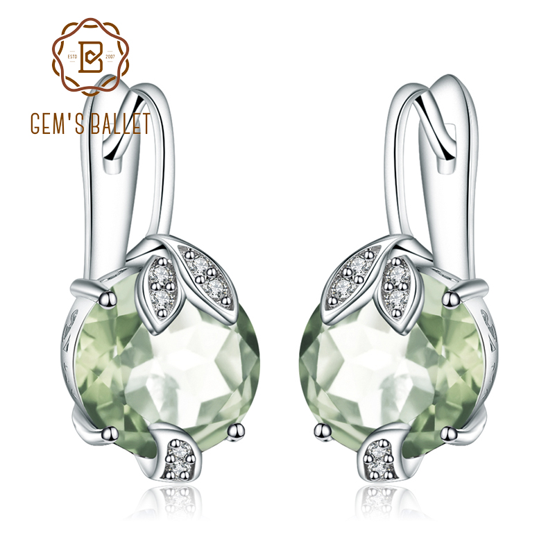 GEM'S BALLET 925 Sterling Silver 6.65Ct Natural Green Amethyst Prasiolite Engagement Stud Earrings For Women Fine Jewelry