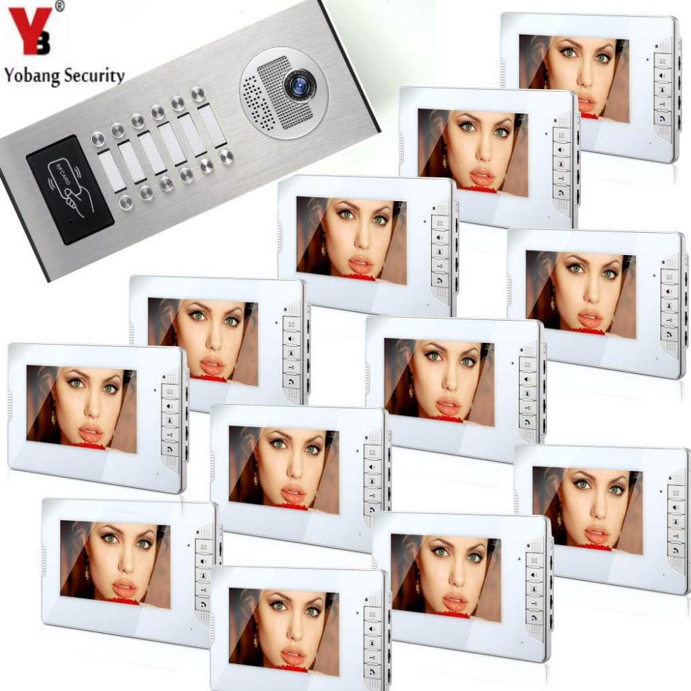 YobangSecurity 7Video Intercom Apartment Door Phone System 12 Monitor+1 Doorbell Camera For 12 House Family RFID Access Control yobangsecurity black 7 inch color tft lcd screen monitor wired video doorbell camera system for house office apartment