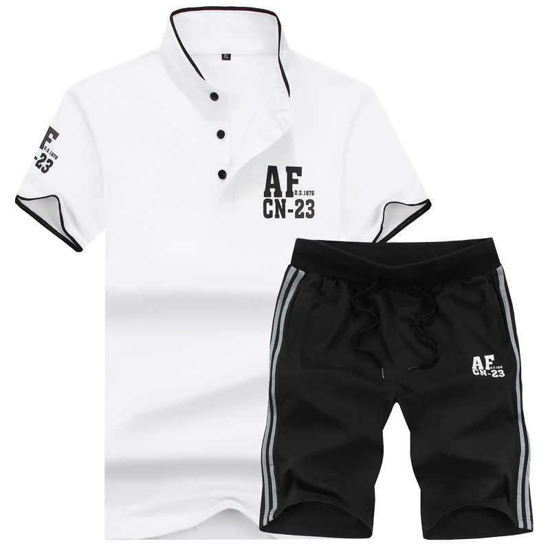 Мужской короткий комплект, летние мужские топы + шорты, комплекты Мужской Хлопковый спортивный костюм, повседневная спортивная одежда, костюм Casaul Slim Fit, мужская одежда