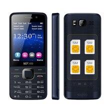"""Multi cuatro Quad tarjeta SIM 4 tarjeta sim 4 en espera 2.8 """"pantalla dual flash de la cámara GPRS FM radio teléfono móvil celular de alto nivel P283"""