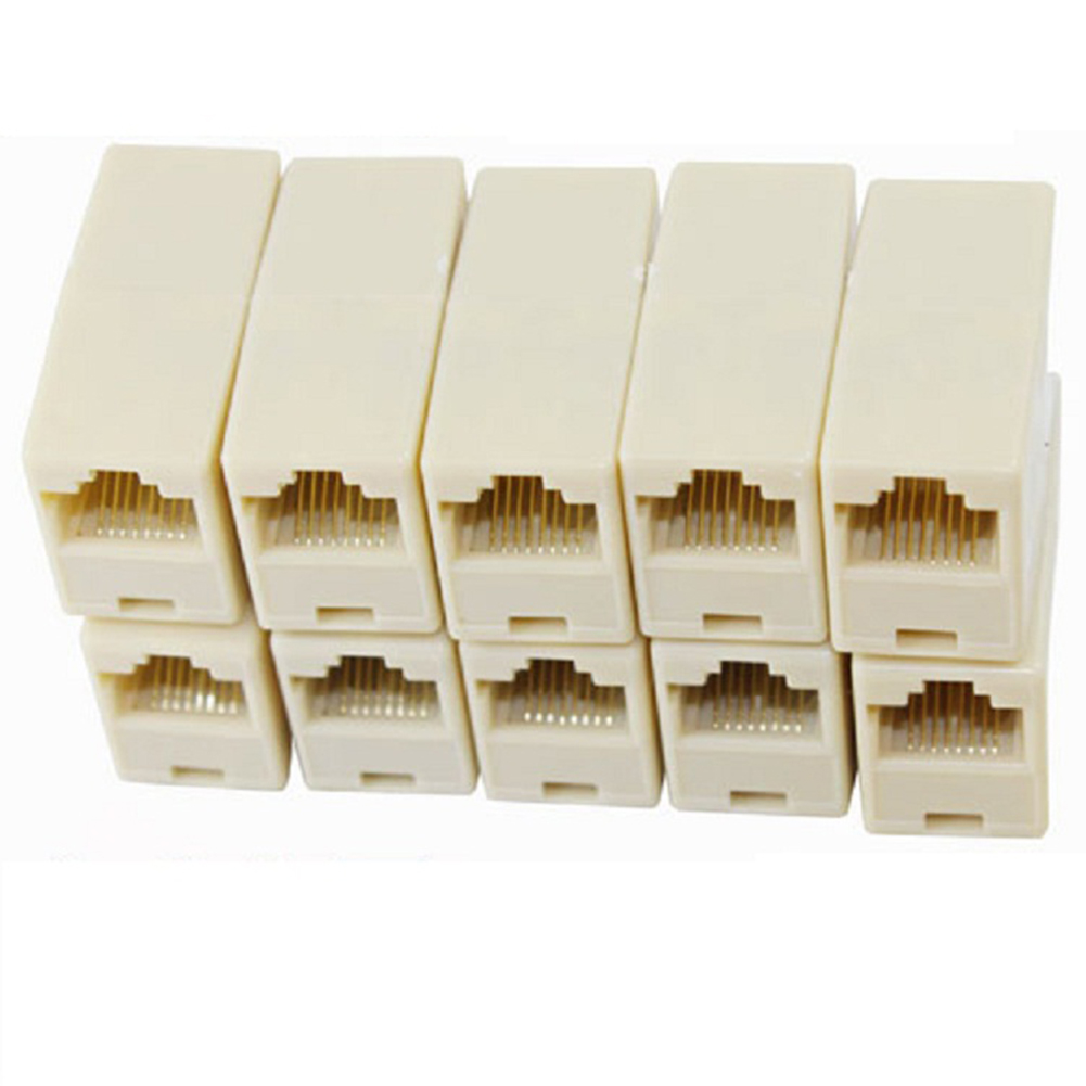 10pcs/lot RJ45 Cable Connector Computer Network Connection Adapter Network Ethernet Lan Cable Joiner Bilateral 8 Pins