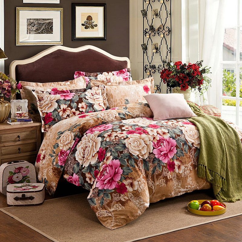 Brown Purple 100%Cotton Kids Adults Bedding Set Twin Full Queen King Size Floral Print Duvet Cover Soft Bed Sheet Set Pillowcase