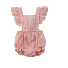 Baby Bodysuit Linen romper Bodie For Babies Girl Clothes Summer 2018 Infant Button Pink Brown White Floral Romper