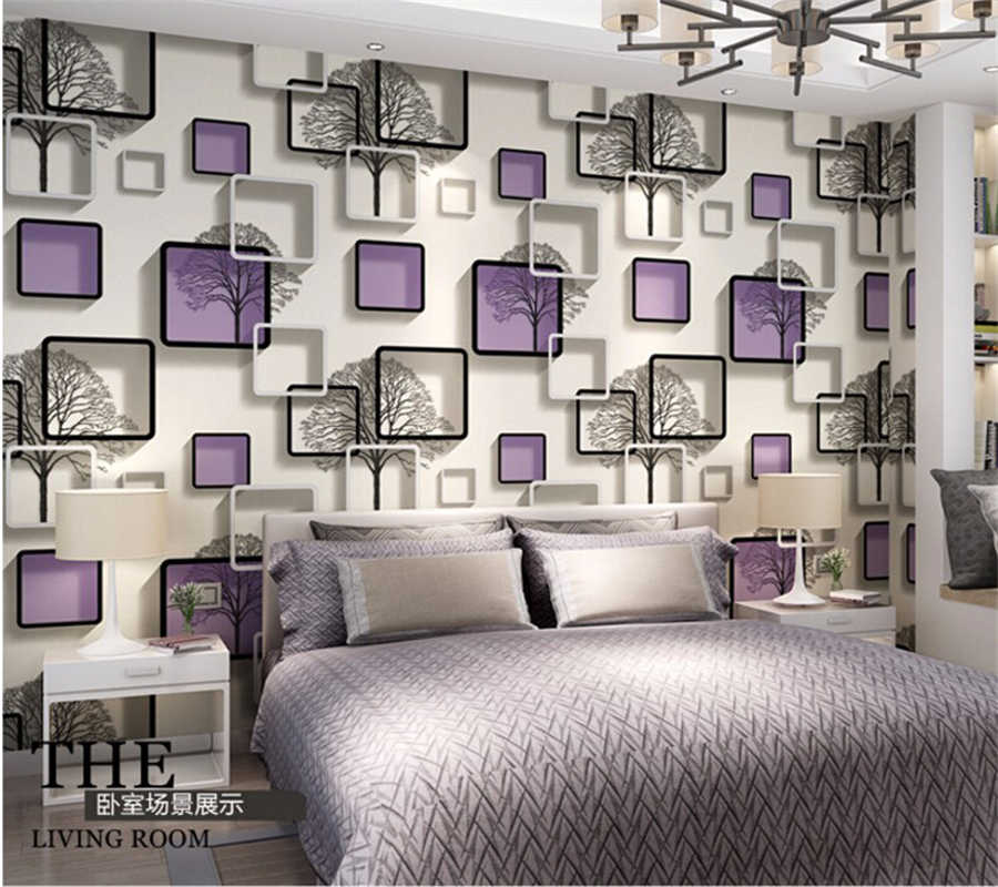 Beibehang 3d Square Grid Wallpaper Black And White Branches Wallpaper Bedroom Living Room Tv Wall Blue Purple Wallpaper Roll Purple Wallpaper Wallpaper Rollwallpaper Black Aliexpress