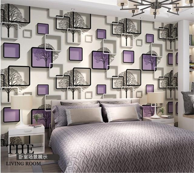 Beibehang 3D Quadratischen Raster Tapete Schwarz Und Weiß Zweige Tapete  Schlafzimmer Wohnzimmer TV Wand Blau Lila