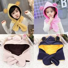 Infant Kids Children Winter Thick Hat Cute Bear Ears Contrast Color Hooded Scarf Faux Rabbit Fur Plush Neck Warmer Beanie Cap(China)
