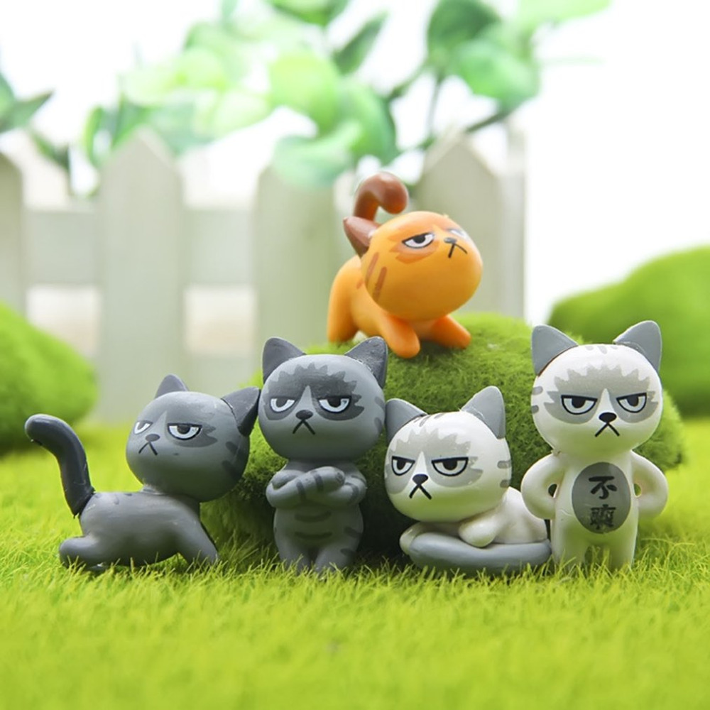 Cute Cartoon Cat Resin Craft Mini Miniature Garden Decor Ornament ...