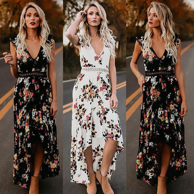 11ddfff0c0 2018 Summer Women Dresses Floral Backless Bohemian Style Long Maxi Dress  Evening Party V Neck Maxi