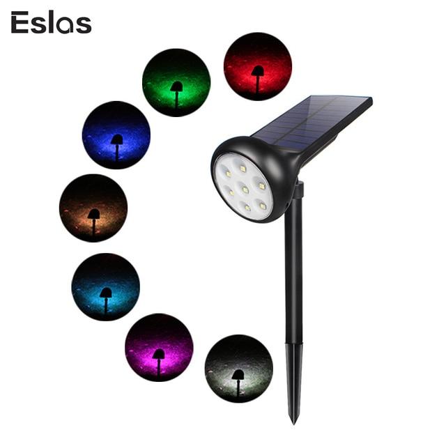 Eslas LED Solar Gazon Licht 7 Kleur Waterdichte Schijnwerpers Voor Outdoor RGB Tuin Decoratie Wandlamp