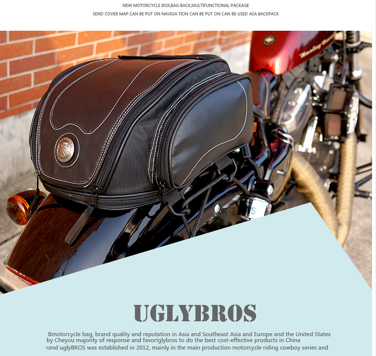 Free Shipping 2018 uglyUROS motorcycle retro Back seat bag 883modified car multi-function kit bag moto bag with waterproof cover