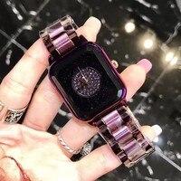 2018 new fashion surface diamond purple shell stainless steel strap ladies waterproof watch