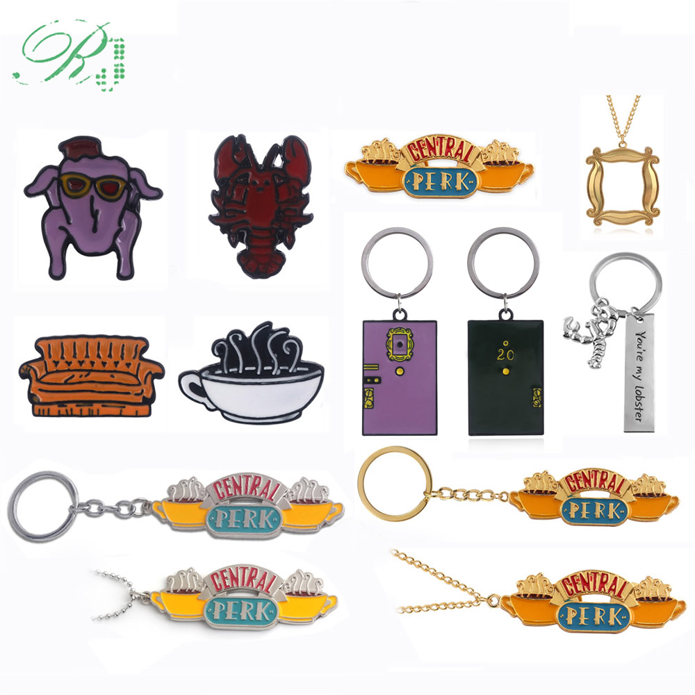 RJ 10Pcs TV Show Friends Keychains Central Perk Coffee Time Pendant Key Chain Monica's Door Car Keyring llavero Jewelry Gift image