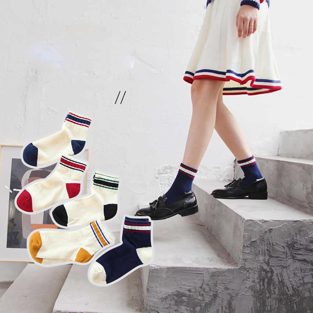 חורף נשים בנות פס גרבי אמצע צינור מכללת סגנון כותנה אופנה כותנה גרב מזדמן מצחיק חמוד גרבי נשים harajuku kawaii