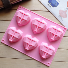 The silicone cake mould 6 connected diamond heart pudding jelly 3d molds handmade soap